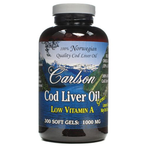 Carlson Norwegian Cod Liver Oil (1000mg) Lightly Lemon 300 sgels - astronutrition.com