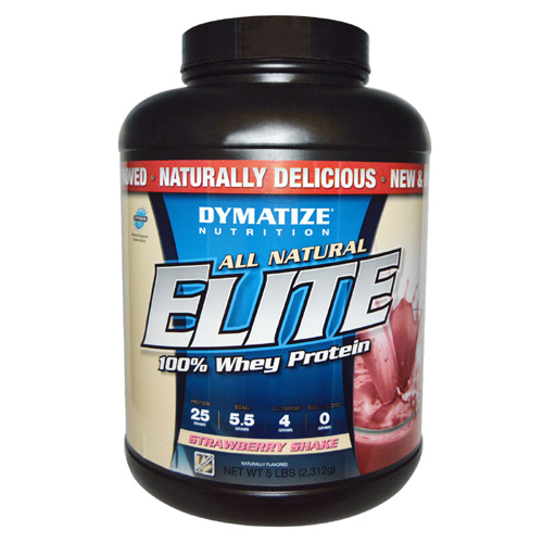 Dymatize Nutrition  Elite Whey Protein Isolate (All Natural)  Strawberry Shake - 5 lbs - astronutrition.com