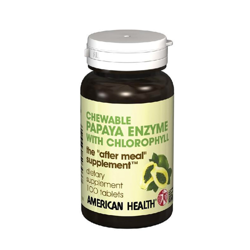 American Health Chewable Papaya Enzyme with Chlorophyll 100 tabs