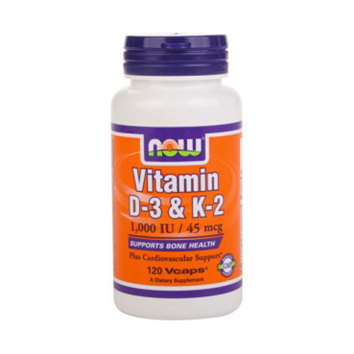 NOW Vitamin D-3 and K-2 120 vcaps