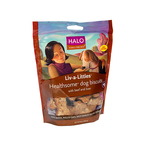 Halo Liv-A-Littles Healthsome Dog Biscuits Beef and Liver 8 oz.