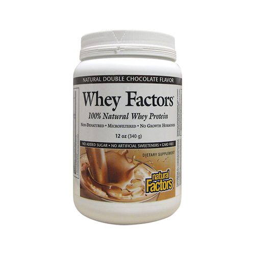 Natural Factors 100% Natural Whey Protein - Whey Factors  Natural Double Chocolate 12 oz