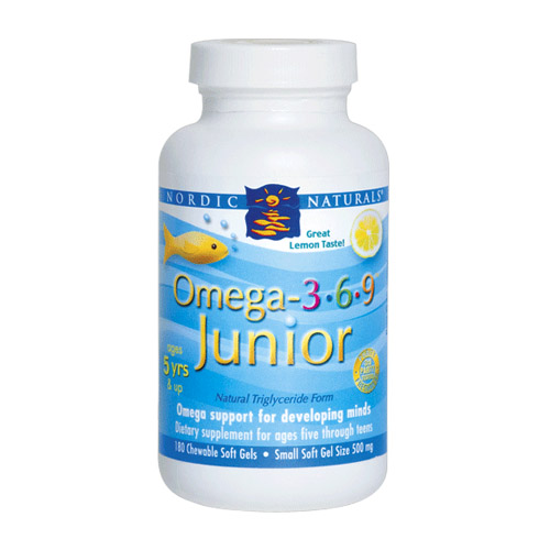 Nordic Naturals Omega-3-6-9 Junior Lemon - 180 softgels