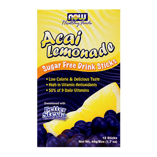 Now Sugar Free Drink Sticks Acai Lemonade - 12 packets