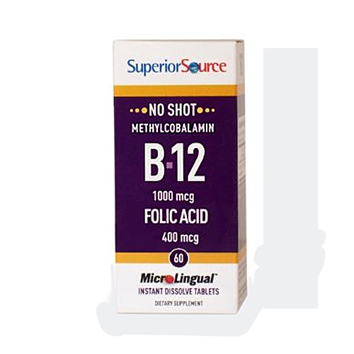 Superor Source  MicroLingual No Shot Methylcobalamin B12 (1000mcg) + B6 & Folic Acid (400mcg) - 60 tabs
